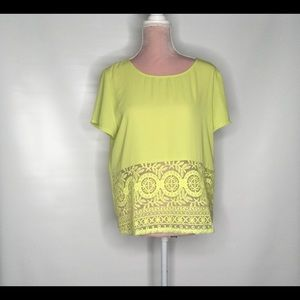 Umgee lime lace detail top.